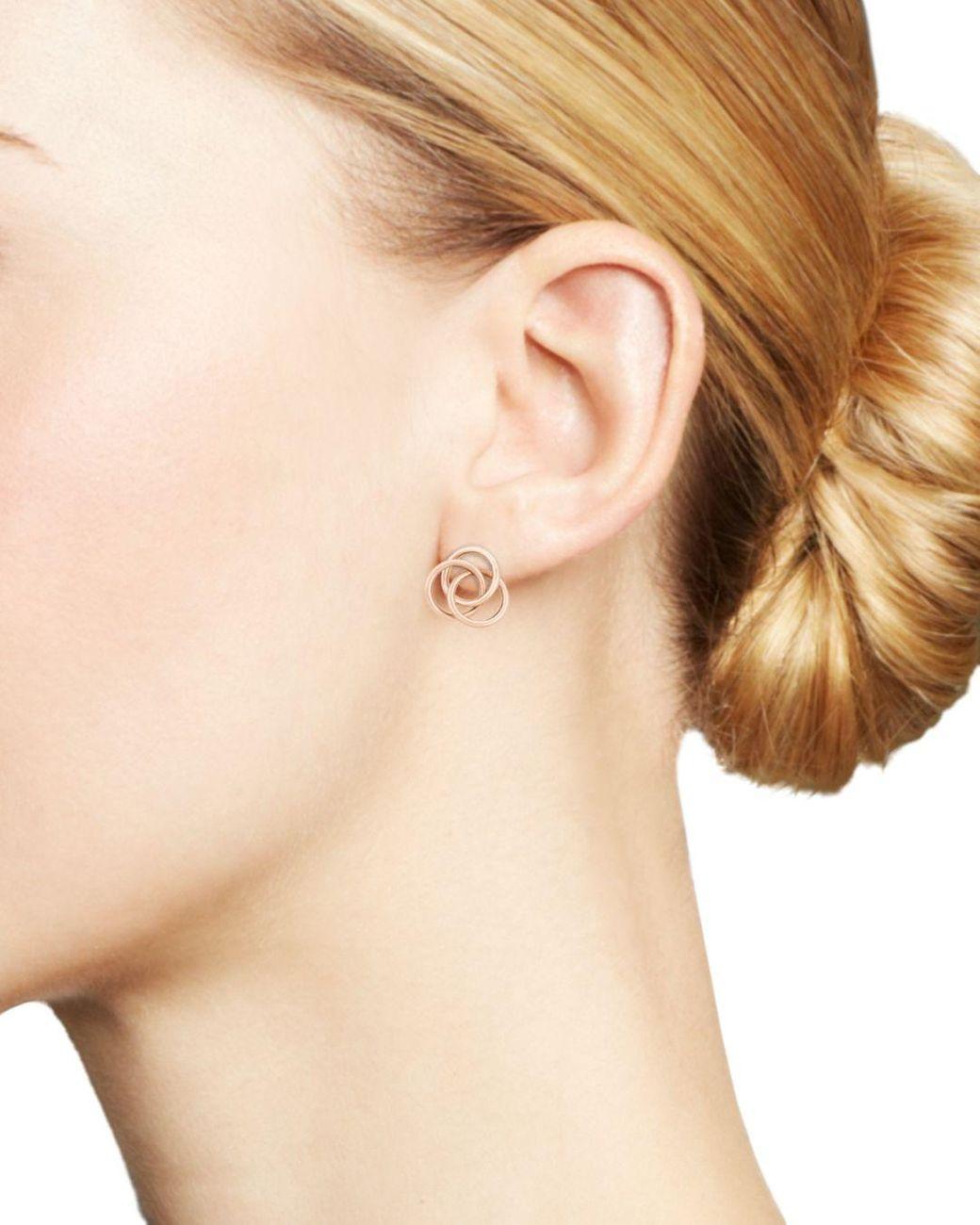 Bloomingdale S Large Love Knot Earrings In 14k Rose Gold Lyst