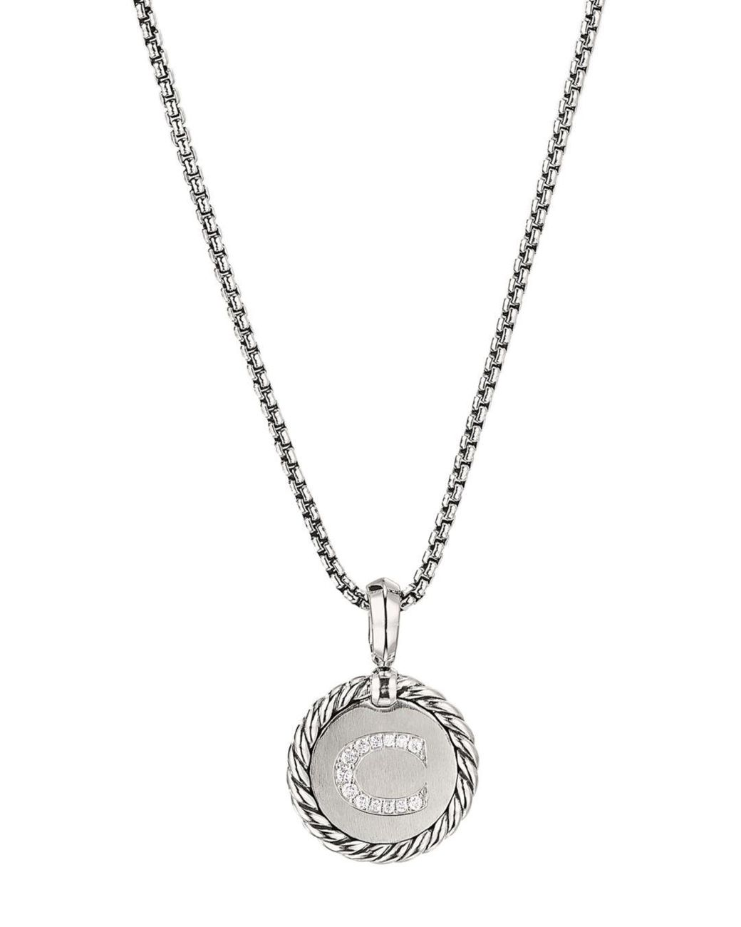 Sterling Silver Cable Collectibles Initial Charm Necklace With Diamonds