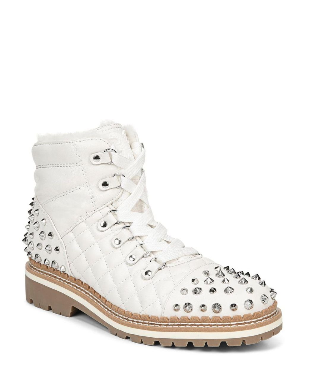6b293cd4e70 White Women's Bren Quilted Studded Hiking Boots