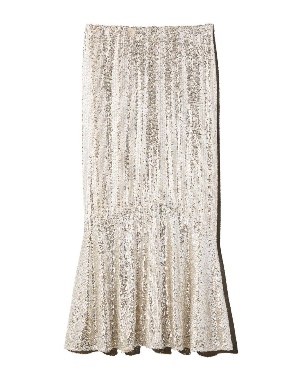 huge sale promo code 50% off Whistles Synthetic Suki Sequined Midi Skirt in Silver (Metallic ...