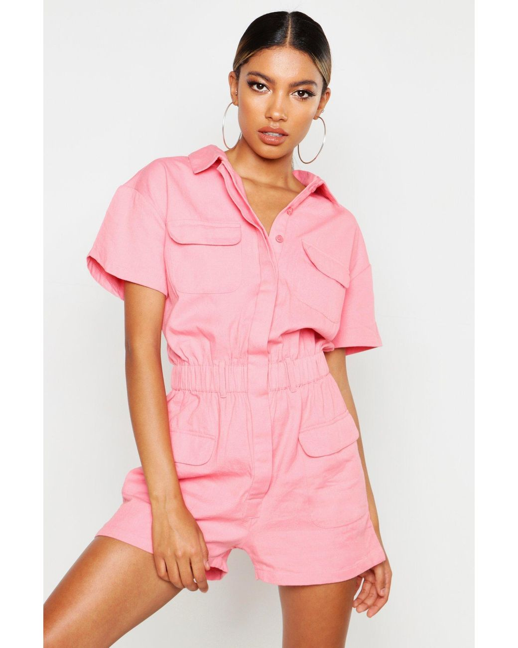sold worldwide classic chic select for clearance Womens Utility Denim Romper - Pink - 2