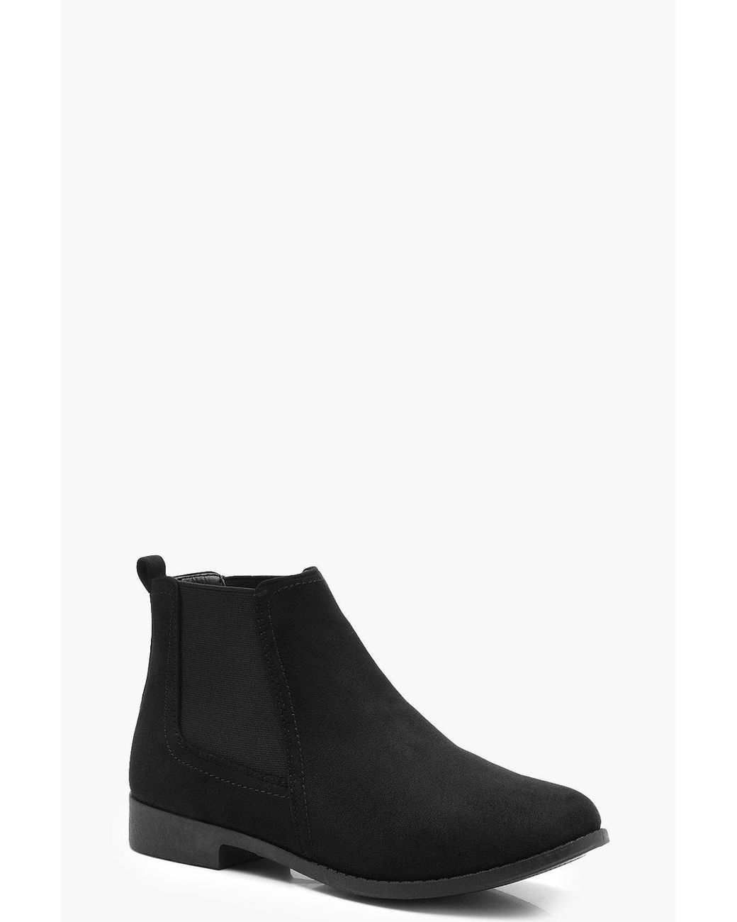 Boohoo Suedette Flat Chelsea Boots in