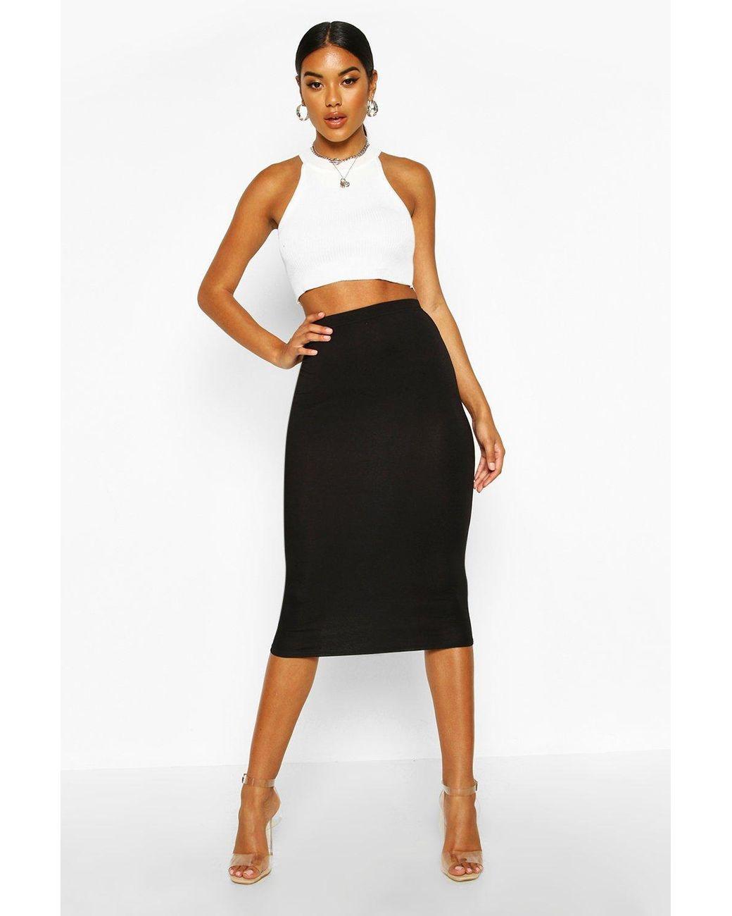 Boohoo Synthetic Basic Jersey Midi Skirt in Black   Lyst