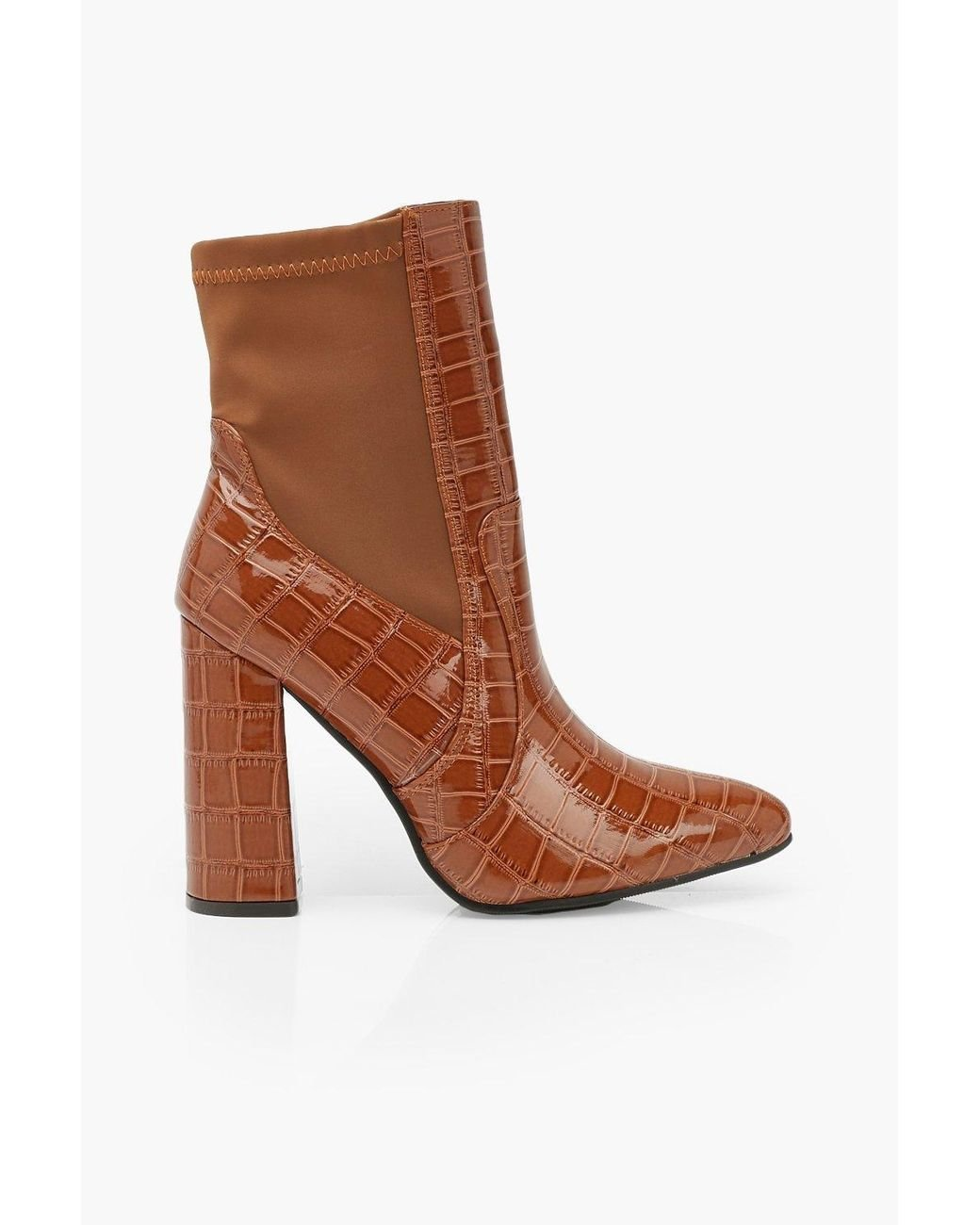 Womens Croc Pointed Toe Block Heel Sock Boots