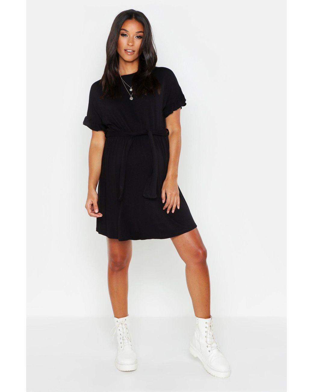301c20013d51 Boohoo Maternity Tie Waist Ruffle T-shirt Dress in Black - Lyst