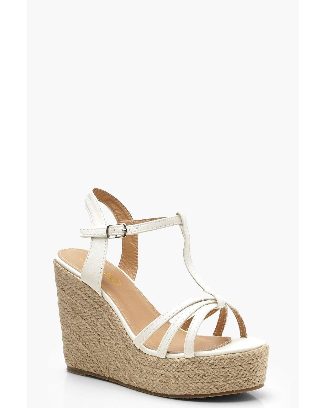 dbf42901bac Womens Caged Peeptoe Espadrille Wedges - White - 7