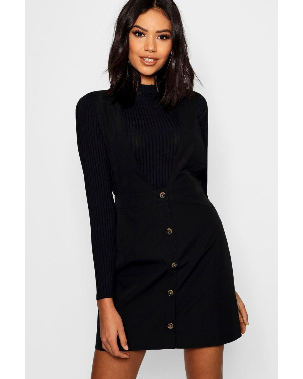 7734504775 Boohoo Plunge Front Button Pinafore Dress in Black - Lyst