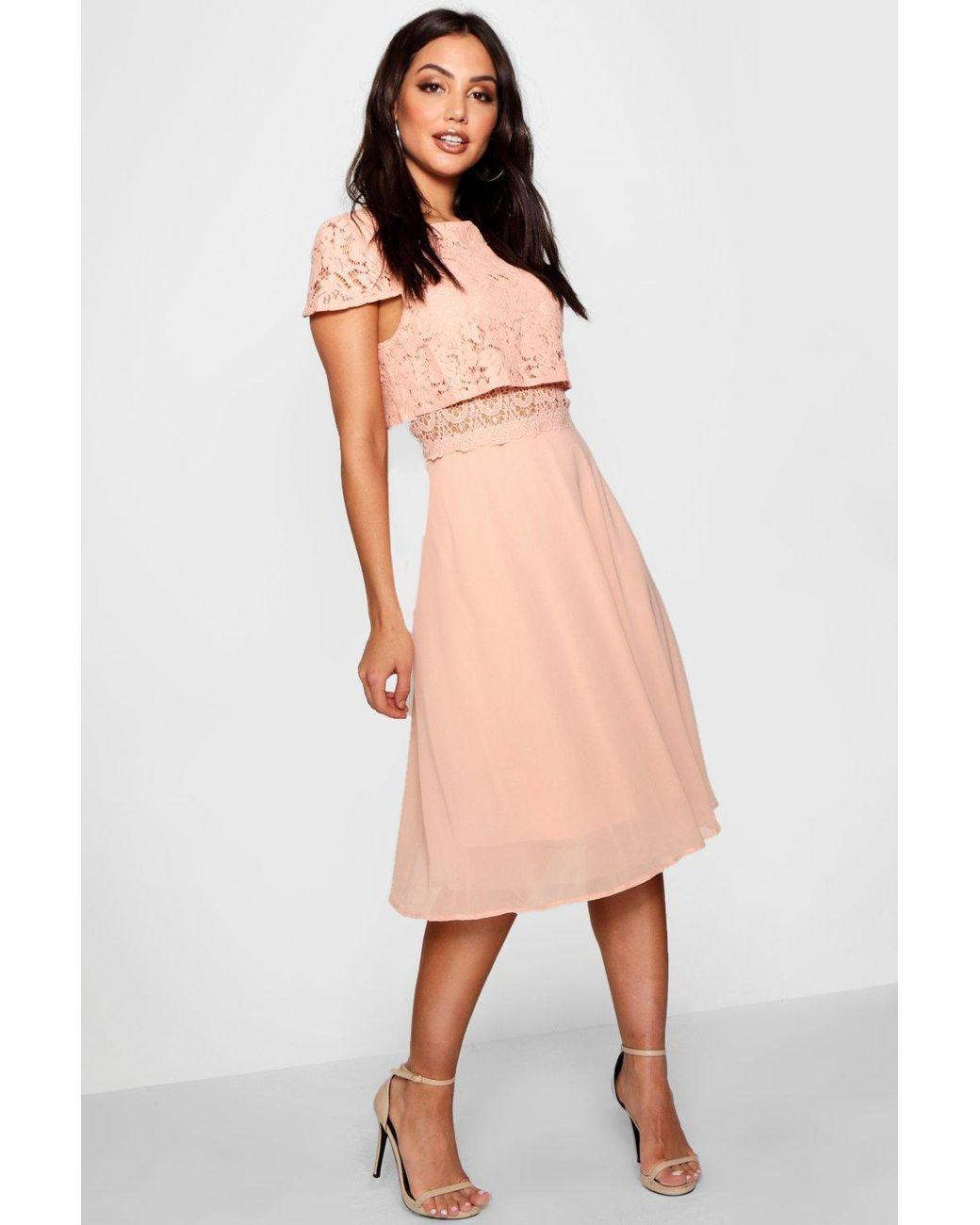 3554533f109fd Boohoo Lace Top Chiffon Skater Dress in Pink - Lyst