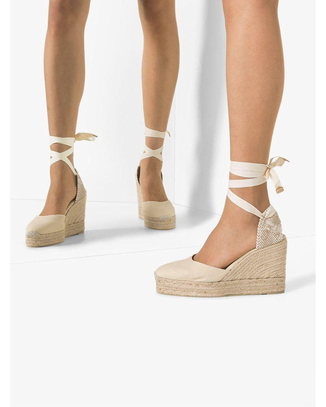 Cream Carina 80 Ankle Tie Wedge Sandals