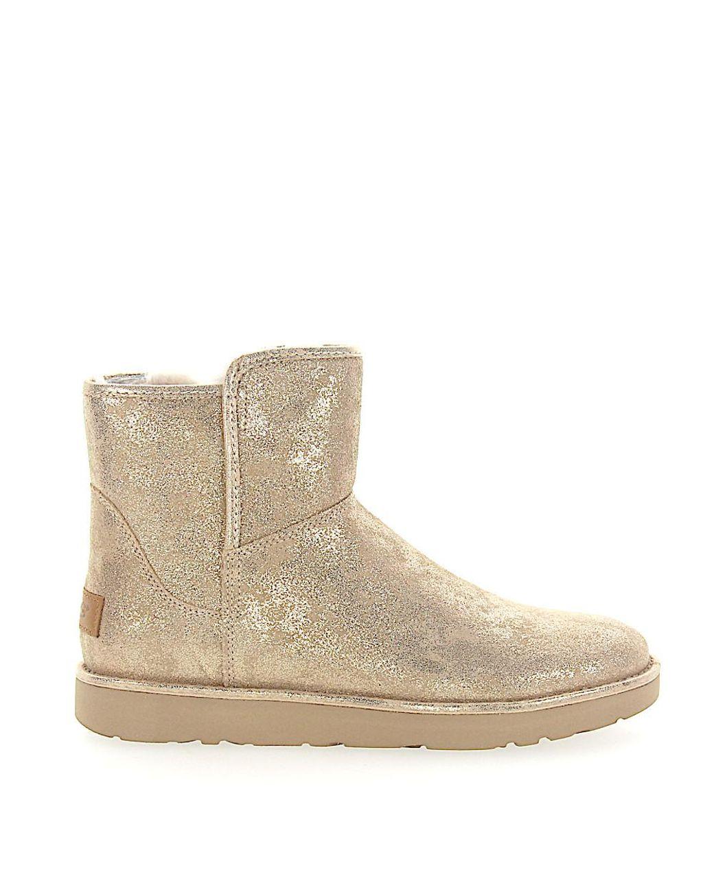 UGG Fur Stiefeletten Boots Abree Mini Veloursleder Gold
