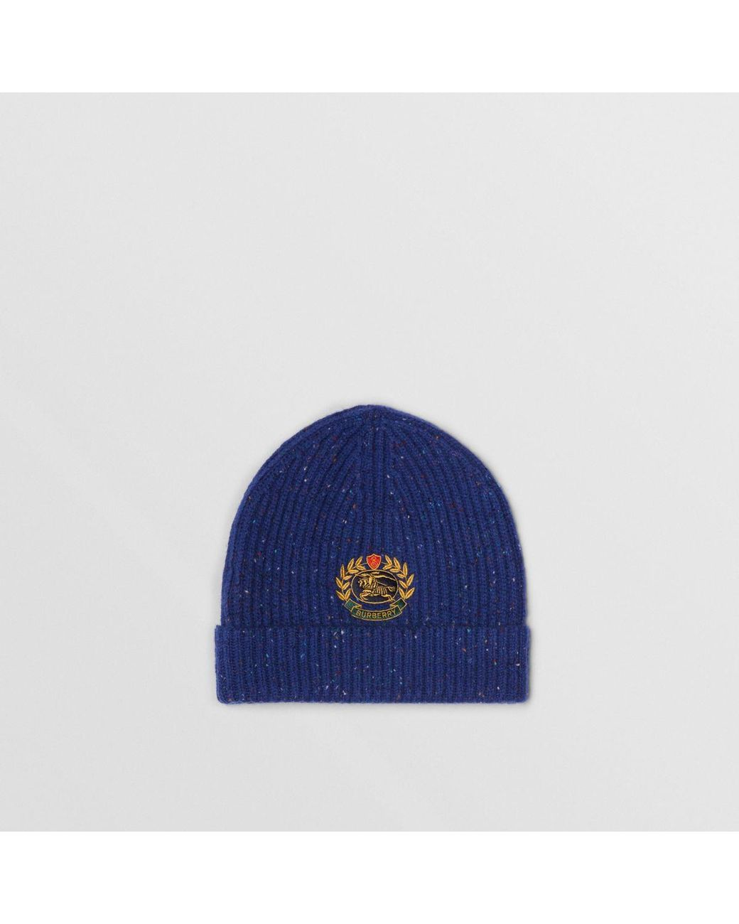 92f23423518 Burberry Embroidered Archive Logo Wool Blend Beanie in Blue - Lyst