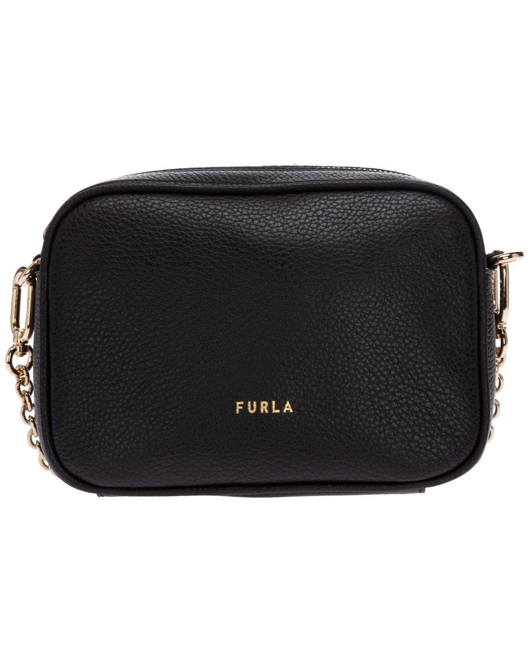 Woman crossbody bag Furla Real mini in black leather with