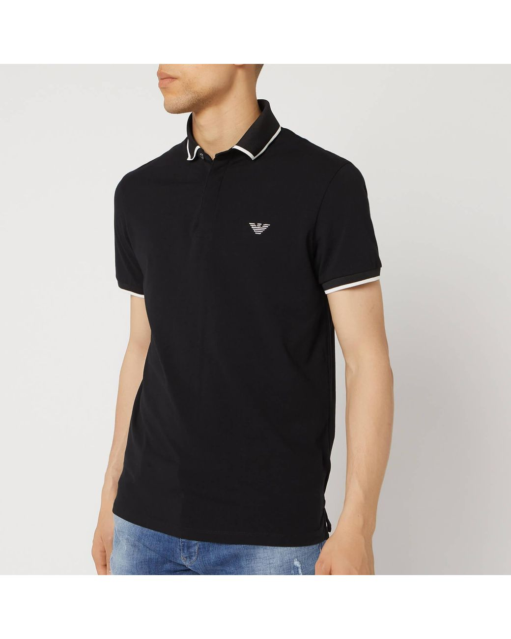 ffe1d73ffe Men's Black Tipped Cotton Polo Shirt