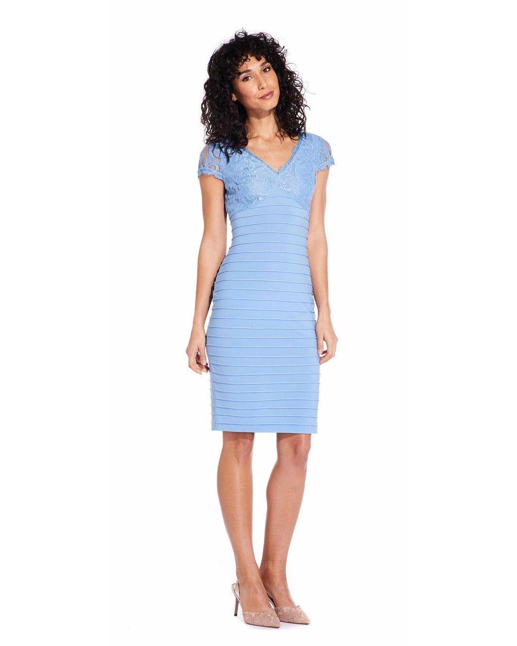 Womens Blue Ap1d103085 Lace Applique V Neck Piping Sheath Dress