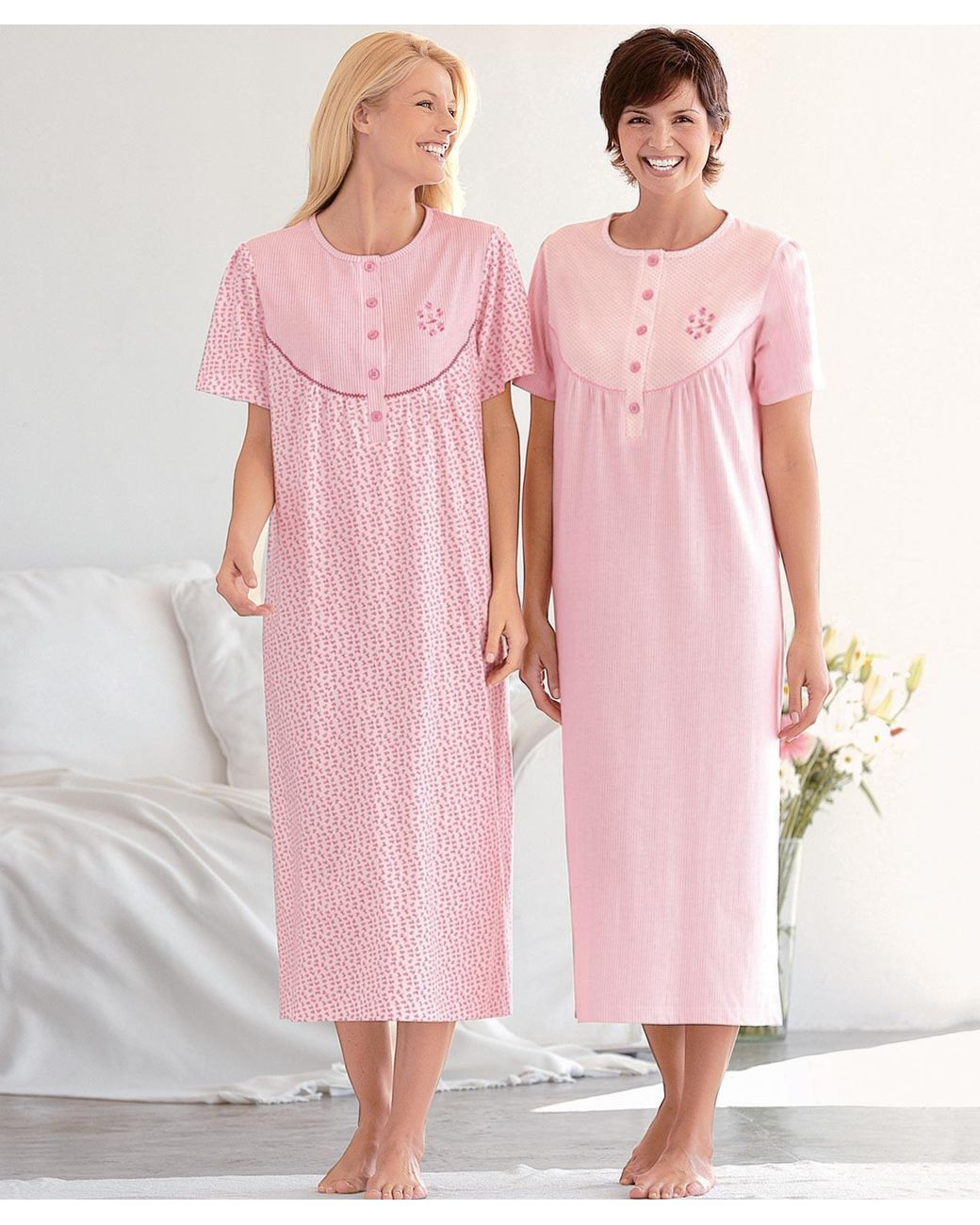 DAMART Pack Of 2 Cotton Nightdresses in Pink/White (Pink) - Lyst
