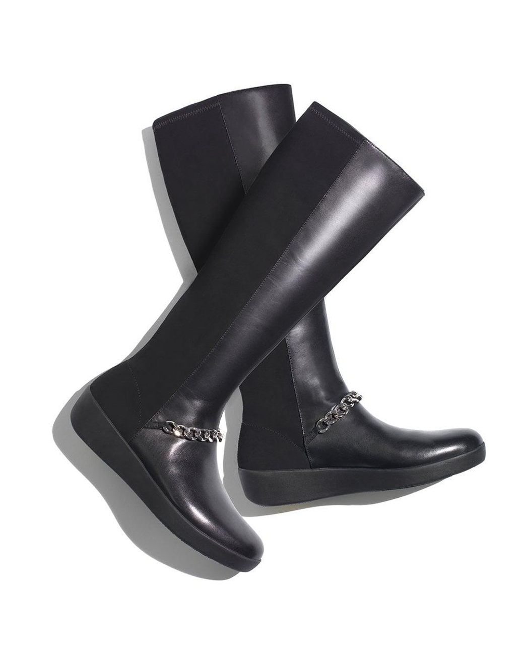 a46265d498 Fitflop Fifi Black Leather Chain Knee Boots in Black - Save 50% - Lyst