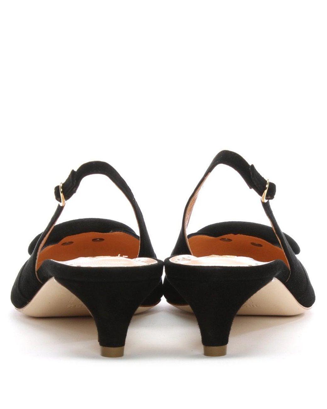 a04311d57c1 Women's Misty Black Suede Pointed Toe Sling Back Kitten Heels