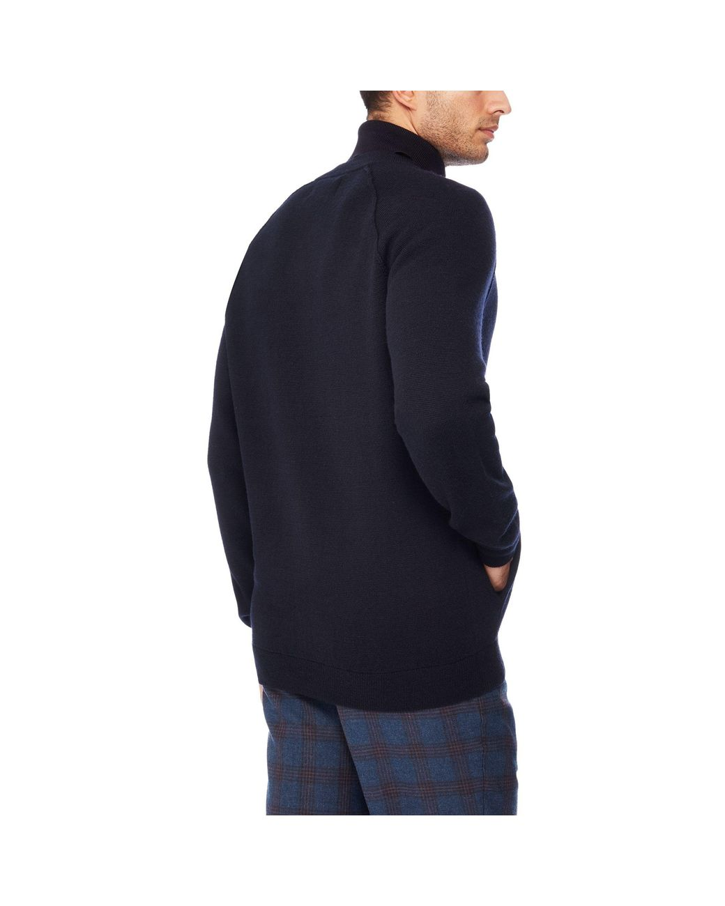 d775a095b Men's Blue 'milano' Lambs Wool Zip Through Cardigan