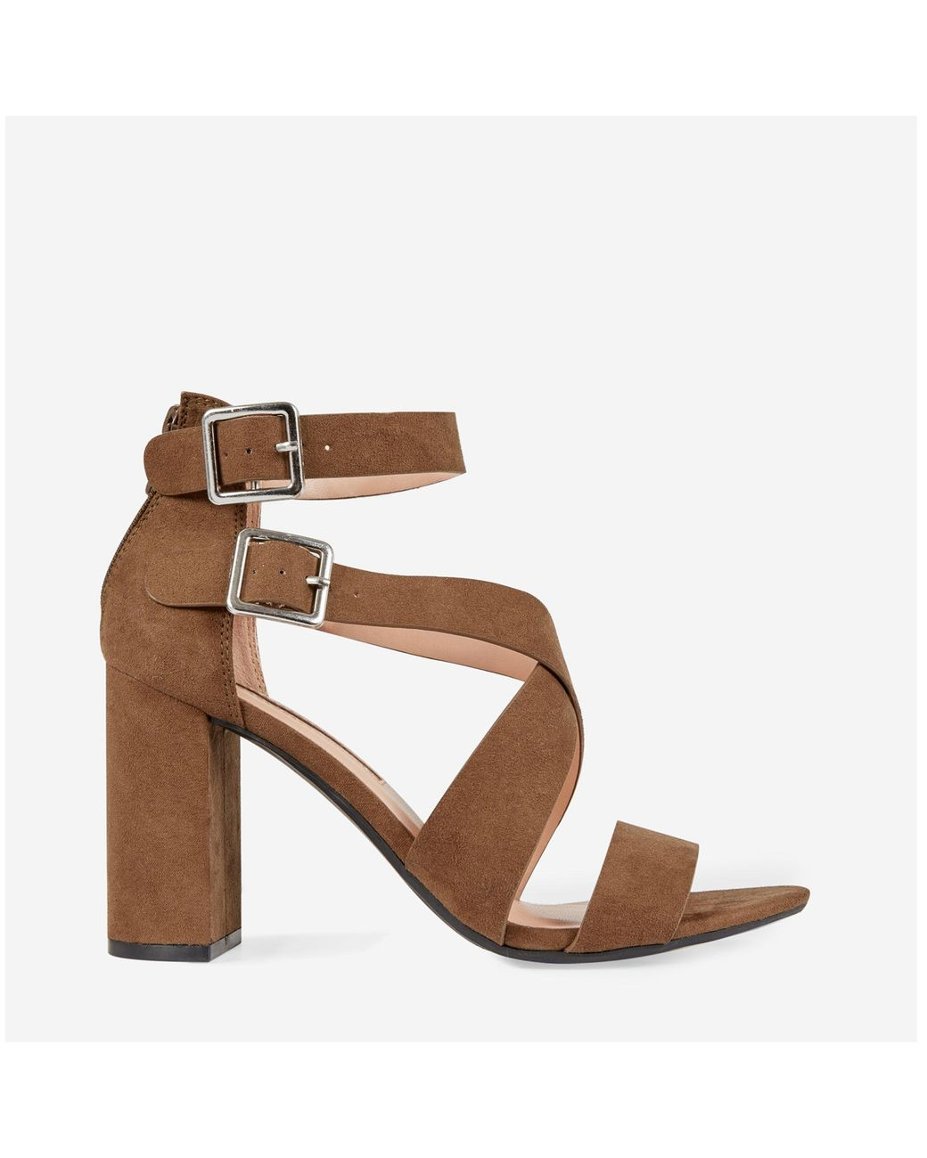 e6212af47095 Dorothy Perkins Brown Staffie Cross Block Heel Sandals in Brown - Lyst