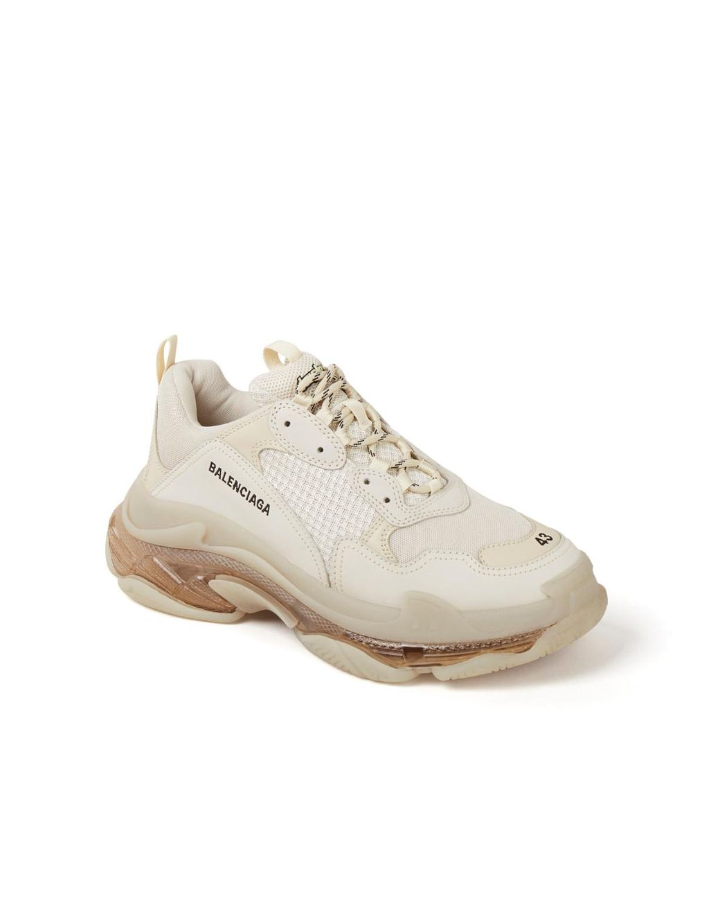 Triple S Sneaker Met Leren Details