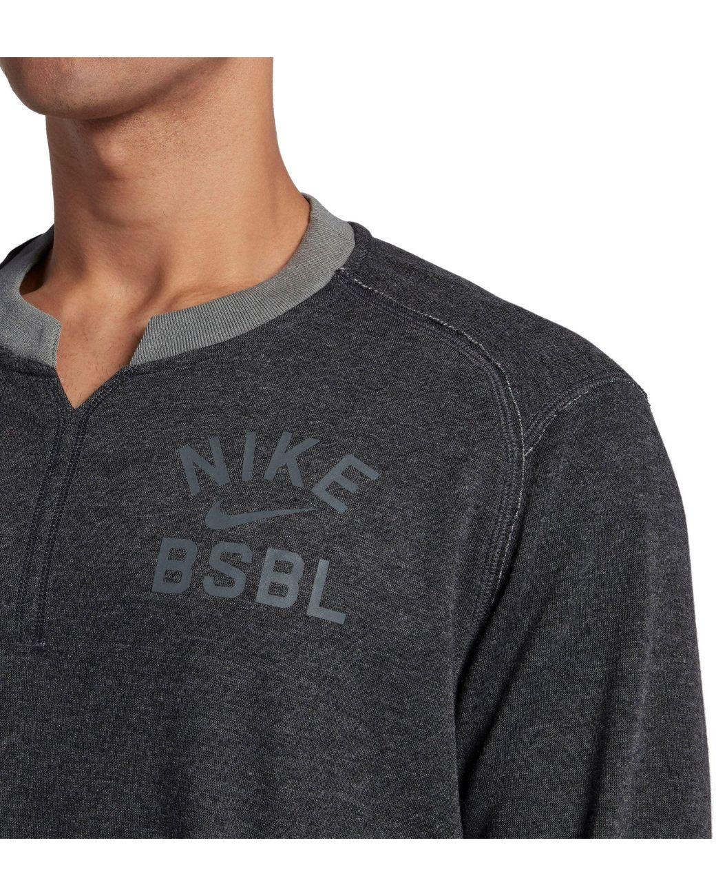 c6eafe66d0984 Lyst - Nike 3 4 Fleece Crew Flux Baseball Shirt in Gray for Men