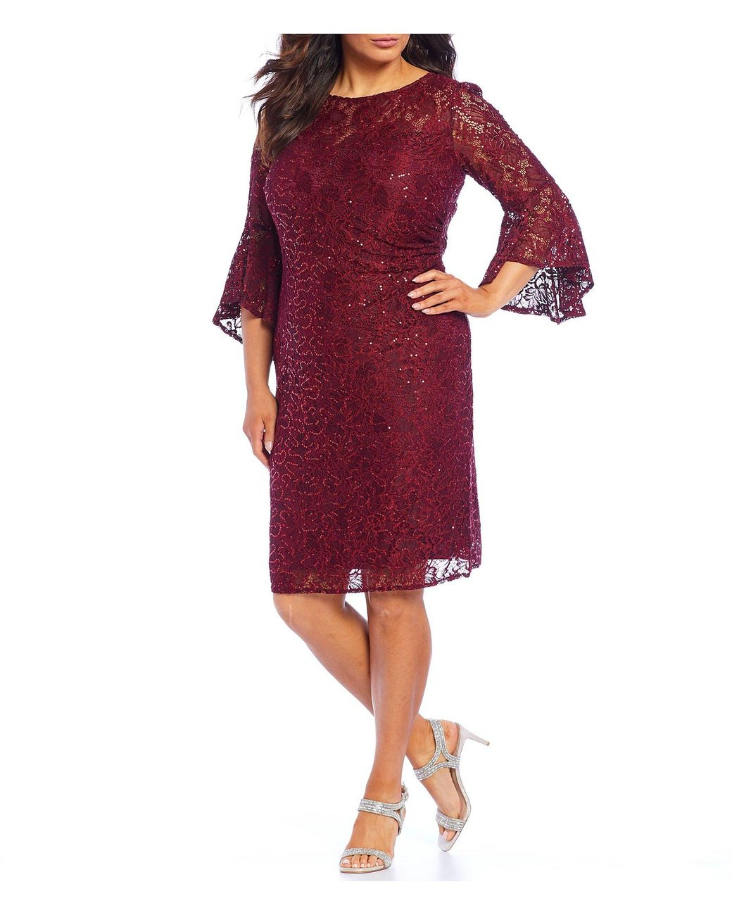 6f03cf327c9 Long-Touch to Zoom. Long-Touch to Zoom. 1  2. R   M Richards - Red Plus  Size Sequin Lace Bell Sleeve Dress ...