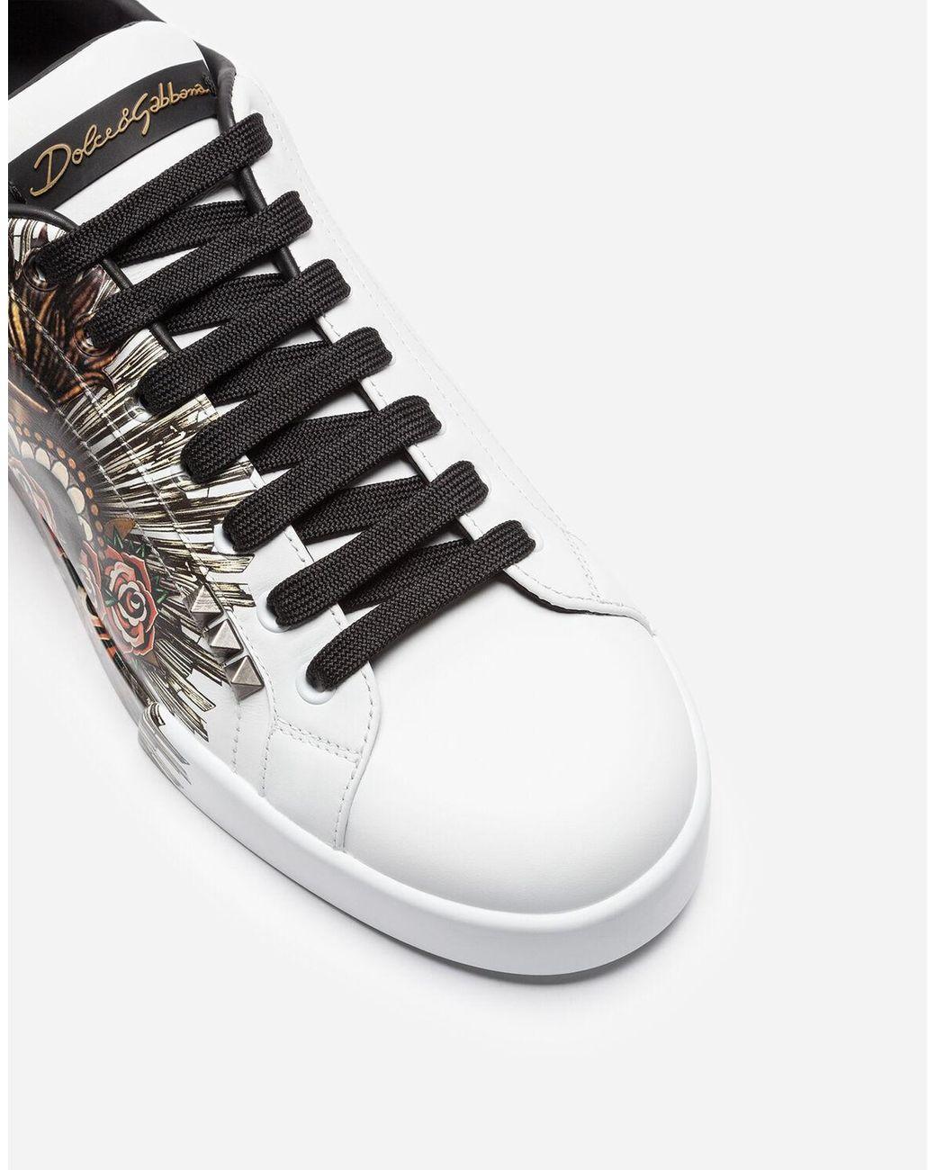 Printed Calfskin Portofino Sneakers