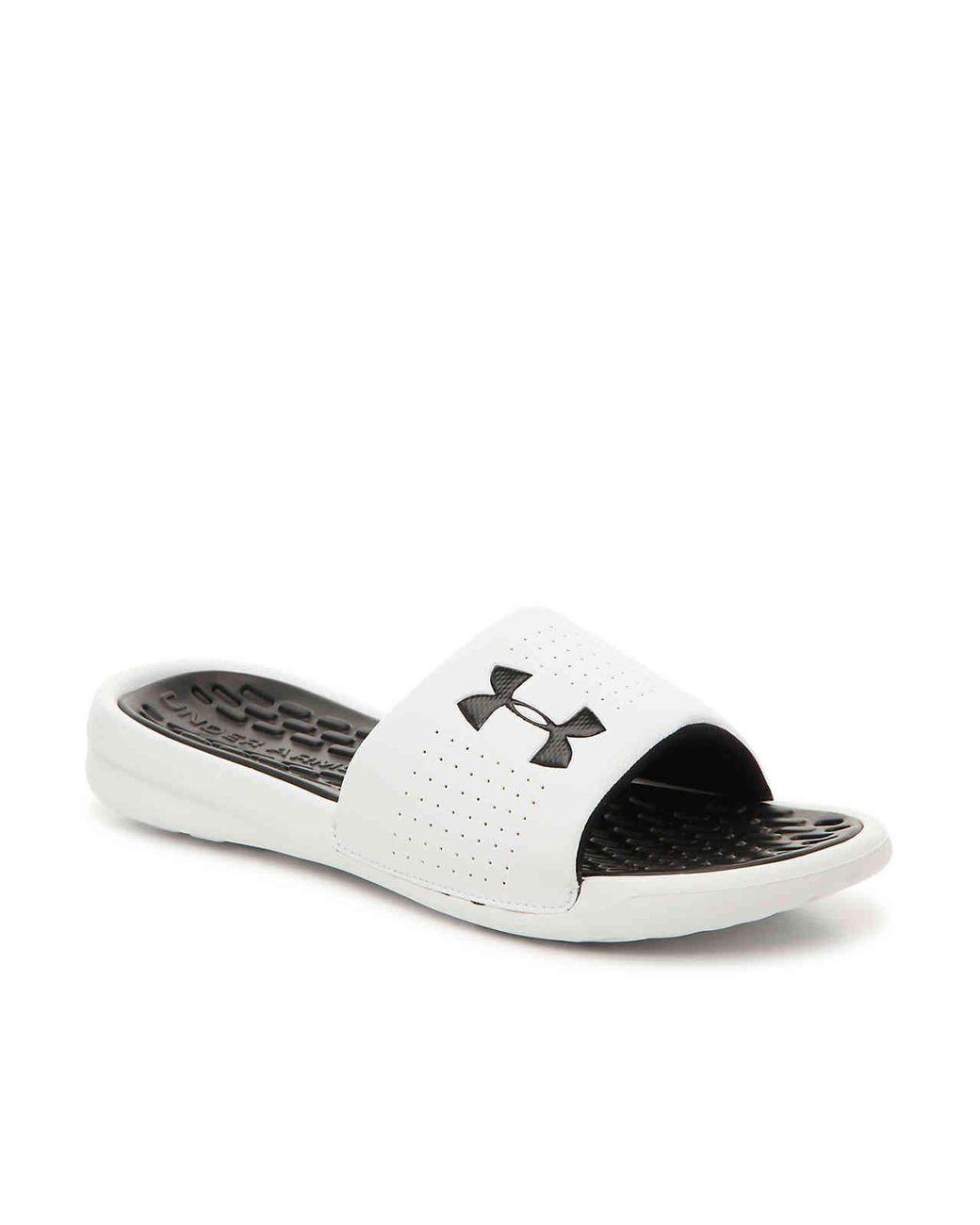 4a258de386a Lyst - Under Armour Playmaker Fix Sl Slide Sandal in White for Men ...