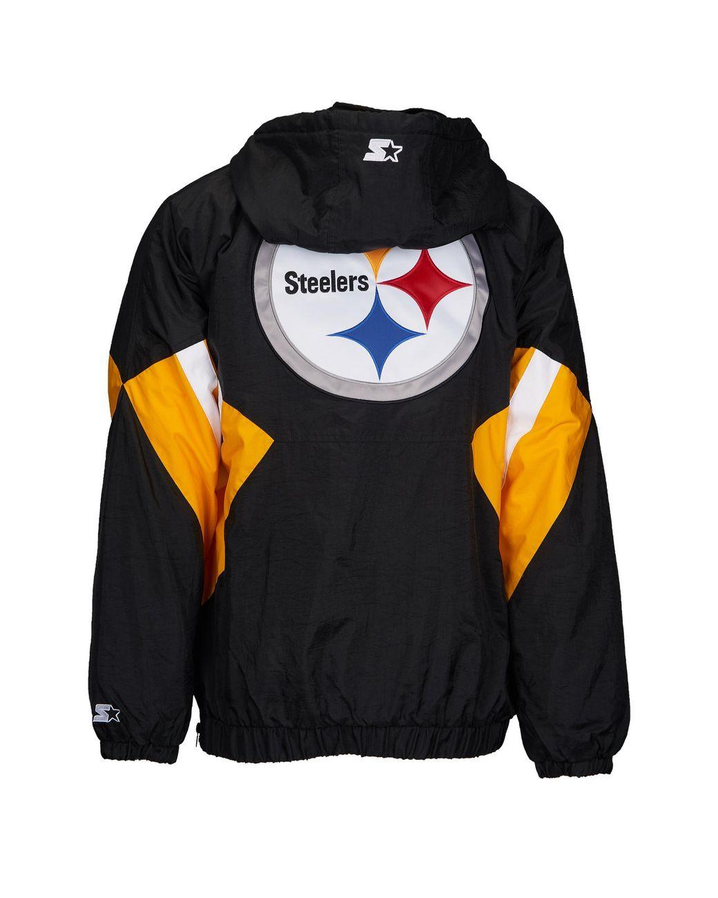 promo code 6af8a 512b5 Starter Black Pittsburgh Steelers Nfl 1/2 Zip Hooded Pullover Jacket for men