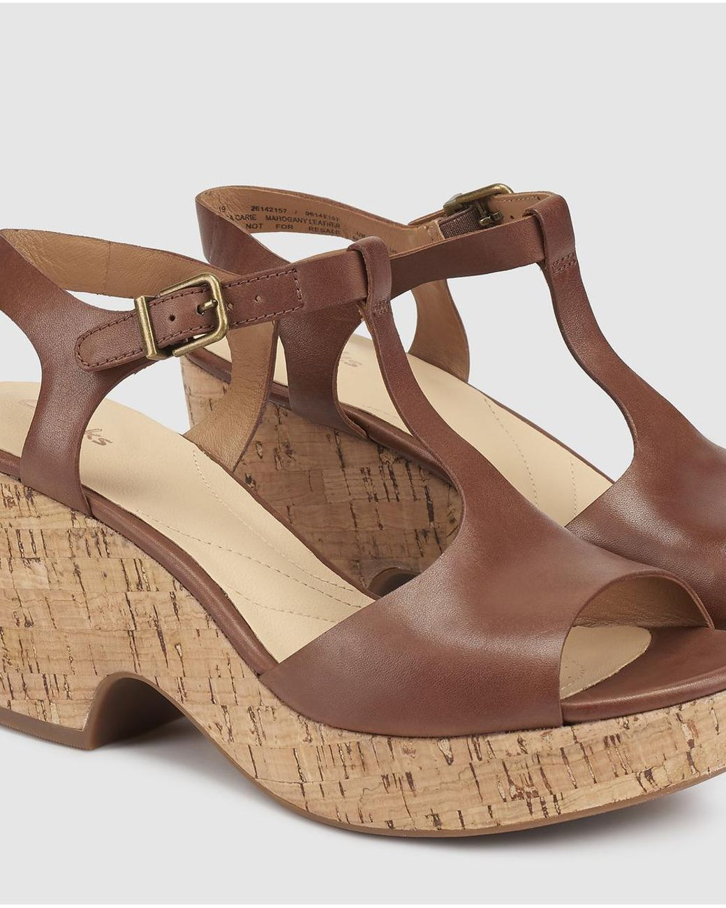 Heel High Brown Leather With Sole Sandals Women's Cork XP8nwkN0OZ
