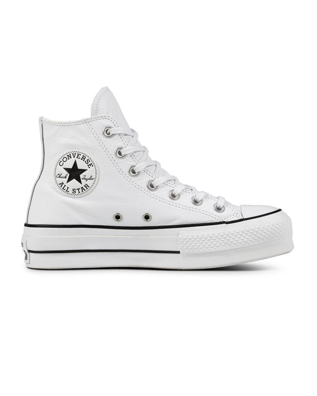 Women's White Chuck Taylor All Star Lift Clean Platform High Leather Casual Sneakers
