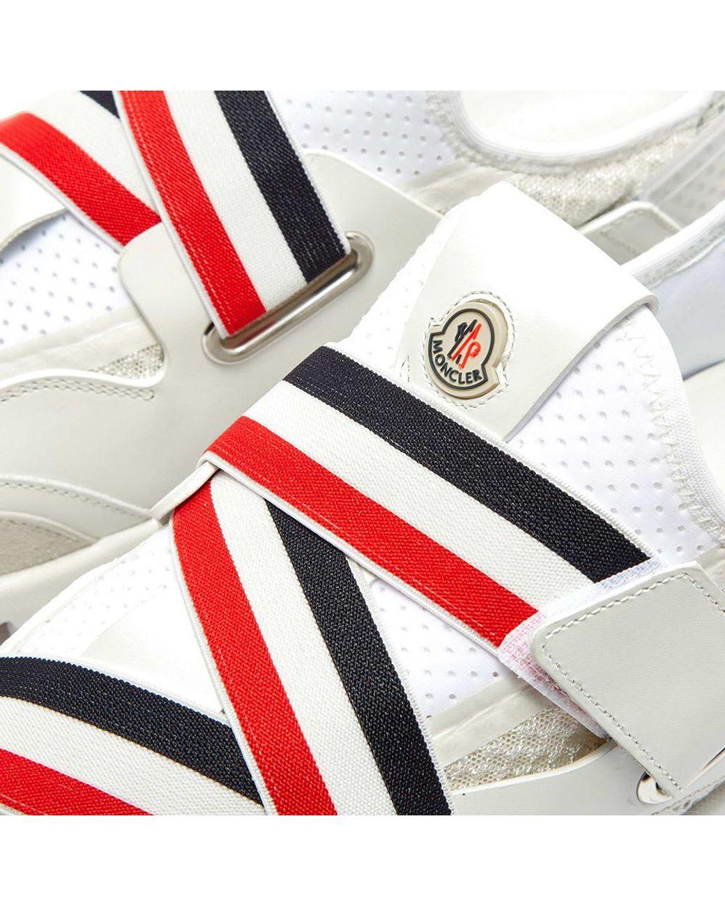 Moncler Suede Bakary Strap Sneaker in White for Men Lyst