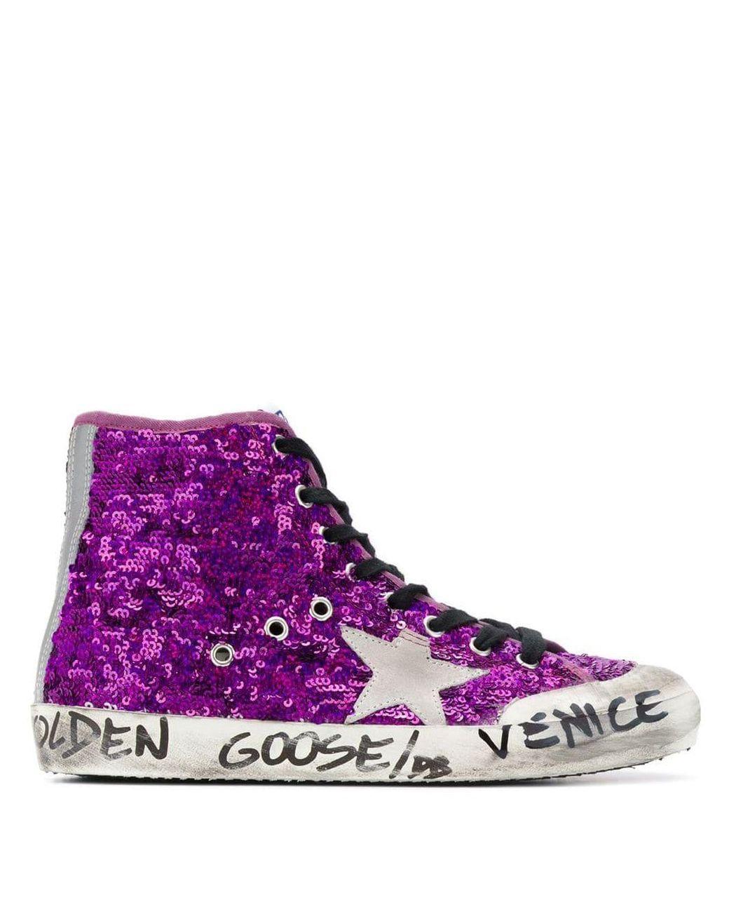 Baskets Venice brodées de sequins femme de coloris violet