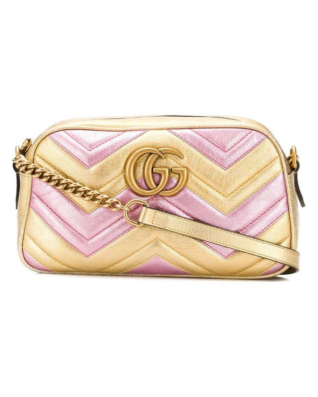 8cac538e86db2b Gucci Laminated GG Marmont Bag in Metallic - Lyst