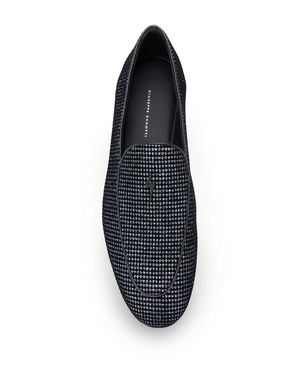 e4beff923b167 Giuseppe Zanotti Glitter Velvet Loafers in Gray for Men - Lyst