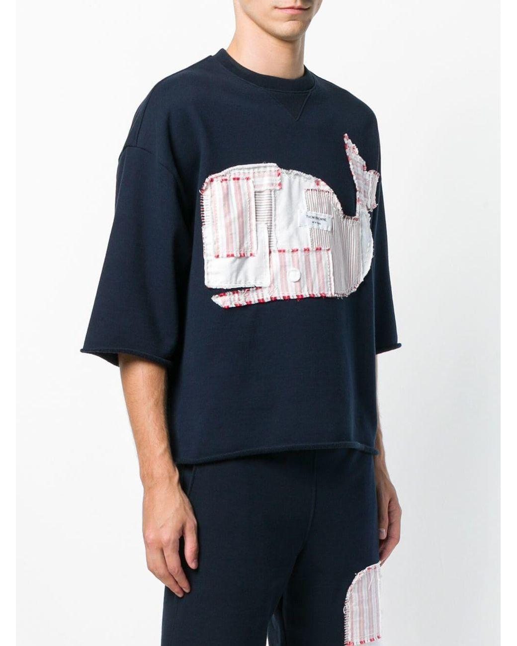 d8362ff96c Men's Blue Shirting Patchwork Icon Cutoff Tee