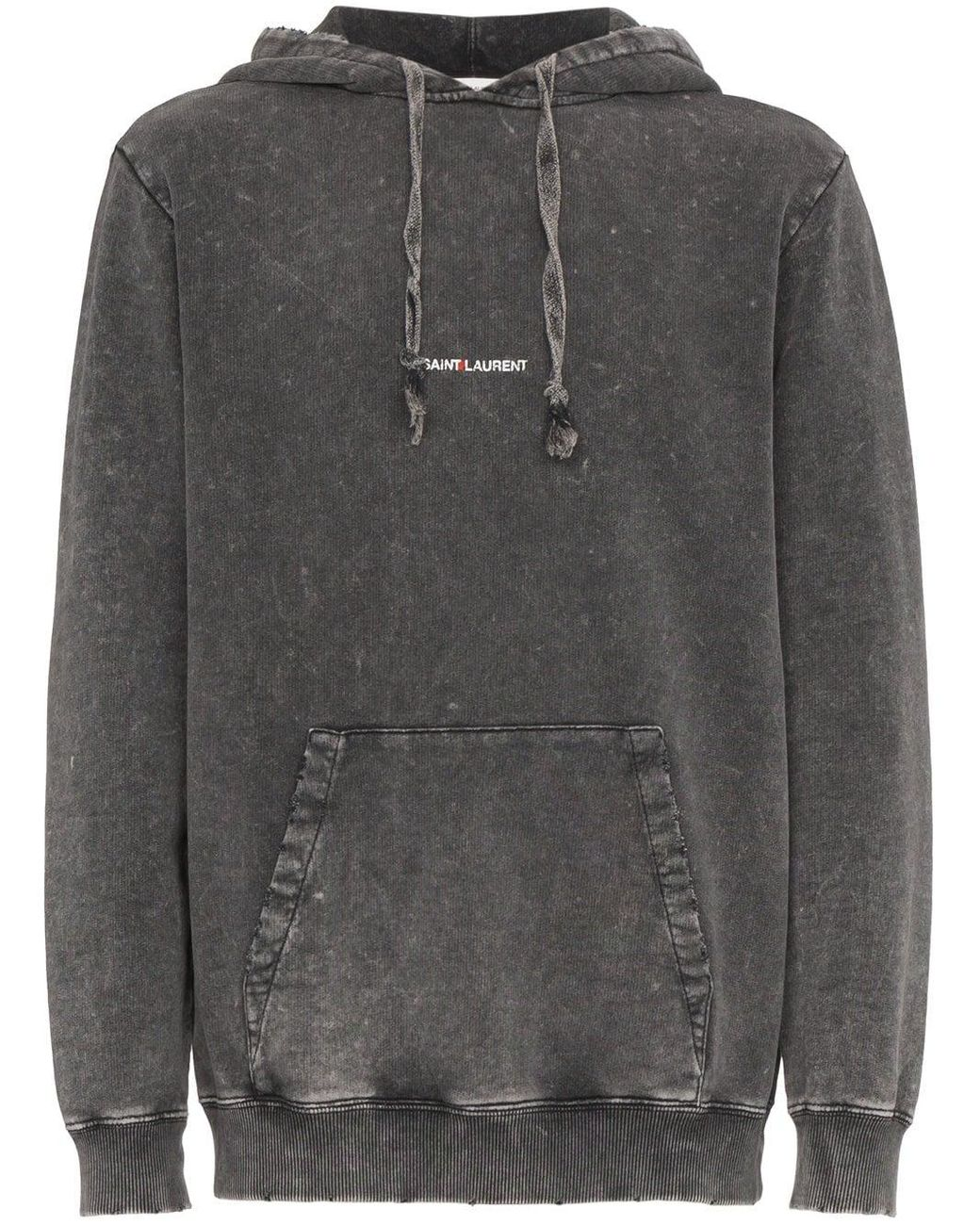 674ad2ab550 Saint Laurent Distressed Logo Hoodie in Gray for Men - Save 62% - Lyst