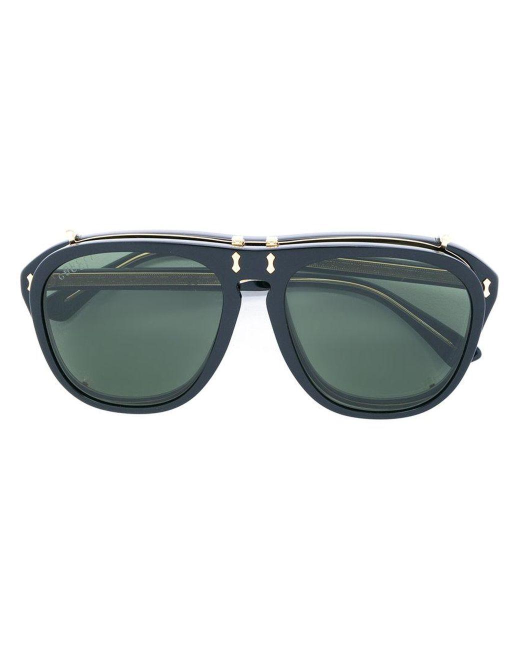 a248fc8f574da Gucci Clip On Lens Convertible Sunglasses in Black for Men - Lyst
