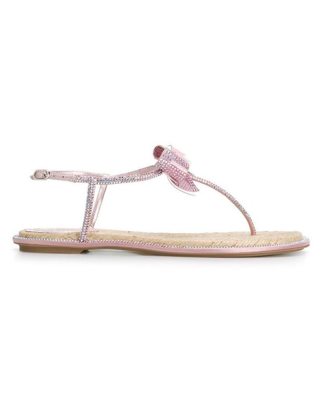 2b48997e383 Lyst - Rene Caovilla Catavina Flat Sandals in Pink