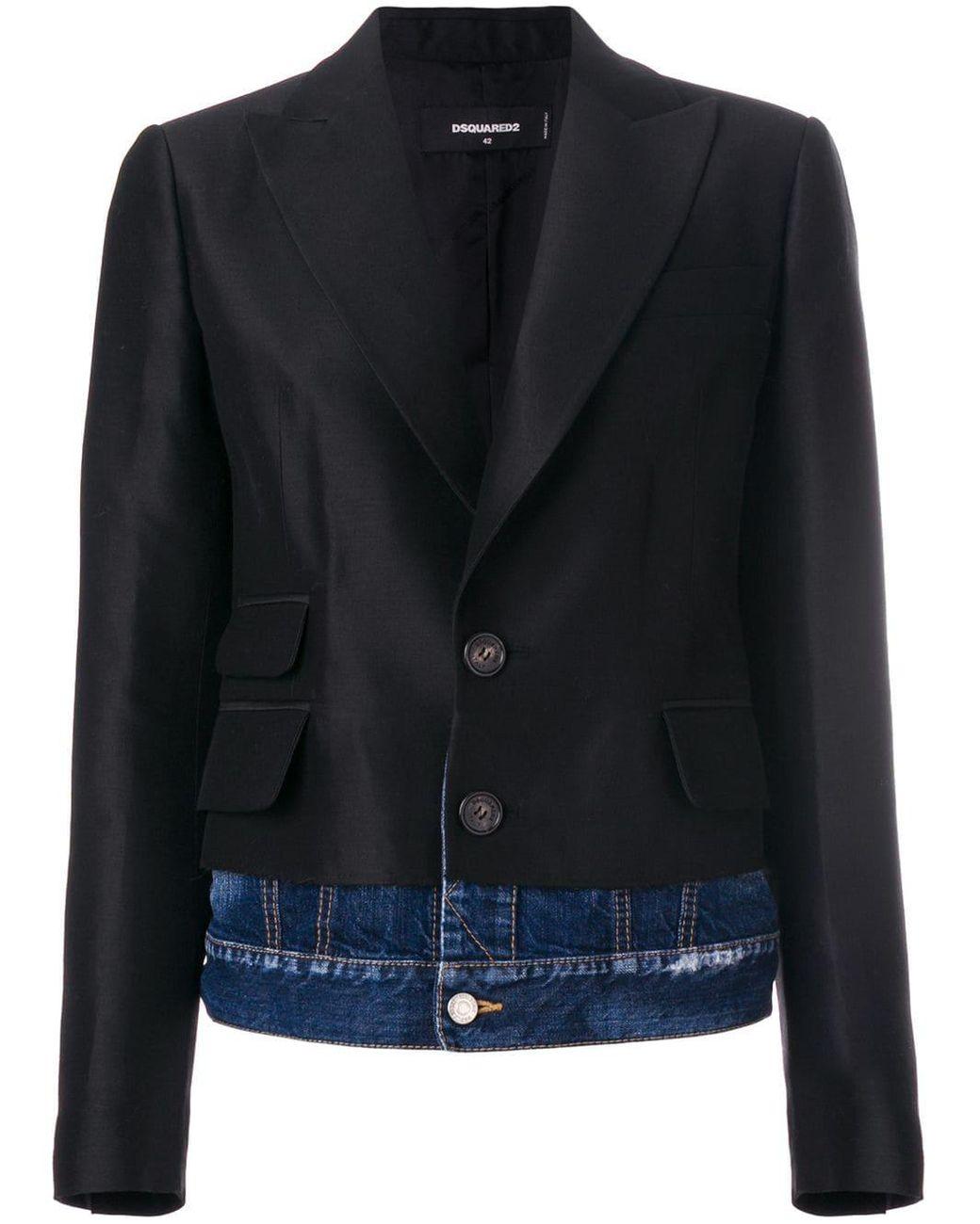 buy online ff65e 8d98c Women's Black Giacca Denim Underlayer Blazer