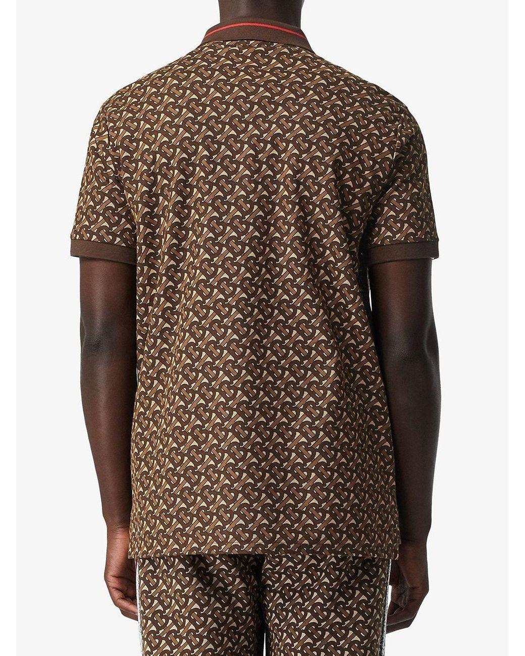 0a06e258a Men's Brown Monogram Stripe Print Cotton Piqué Polo Shirt