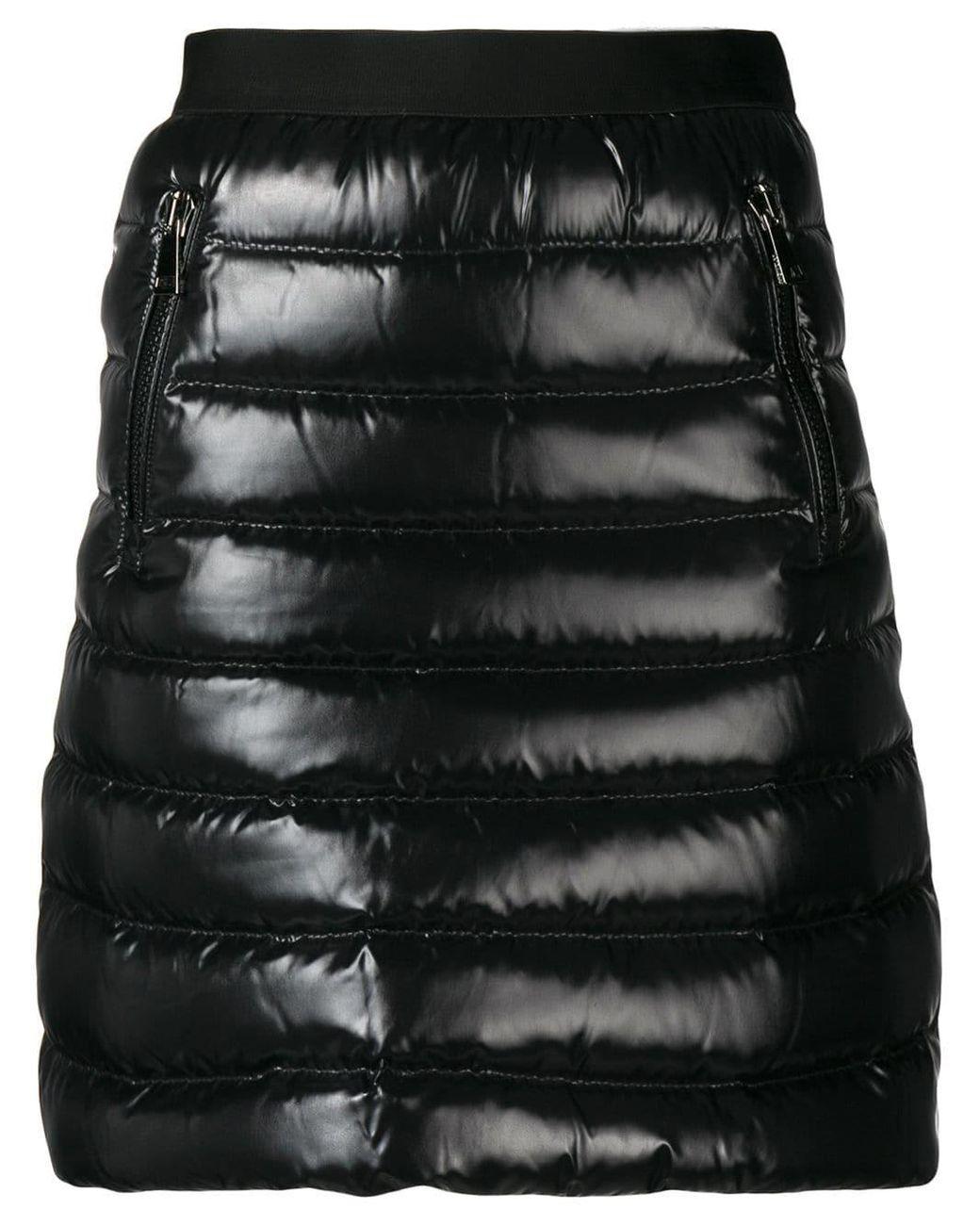 Damen Daunenrock mit Taschen in schwarz