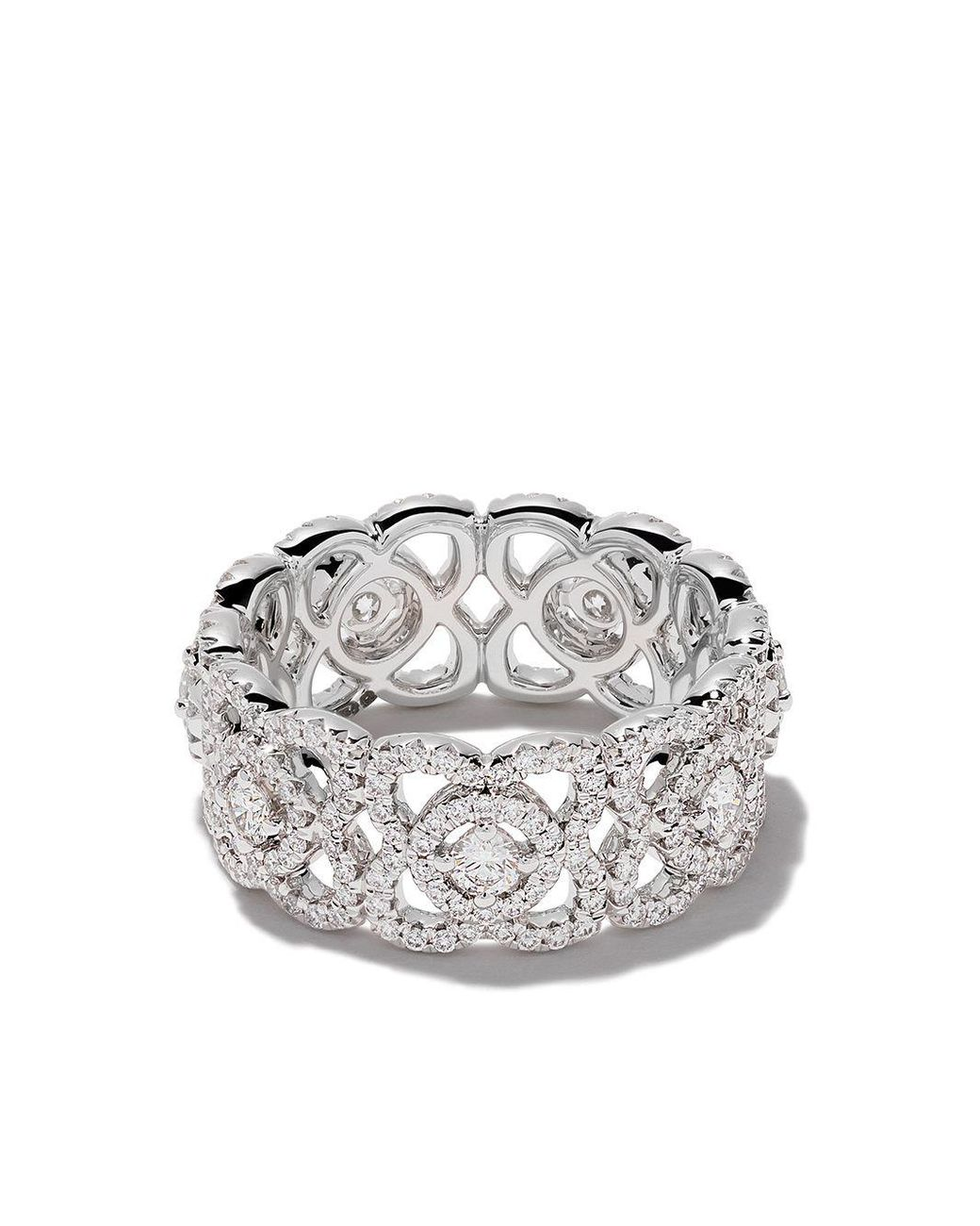 De Beers 18kt White Gold Enchanted Lotus Diamond Band Lyst