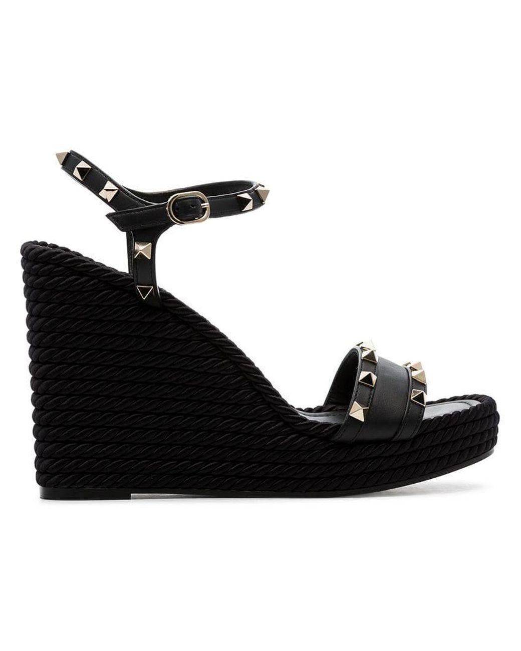 53057692343 Valentino. Women s Black Garavani Rockstud 120 Espadrille Wedge Leather  Sandals
