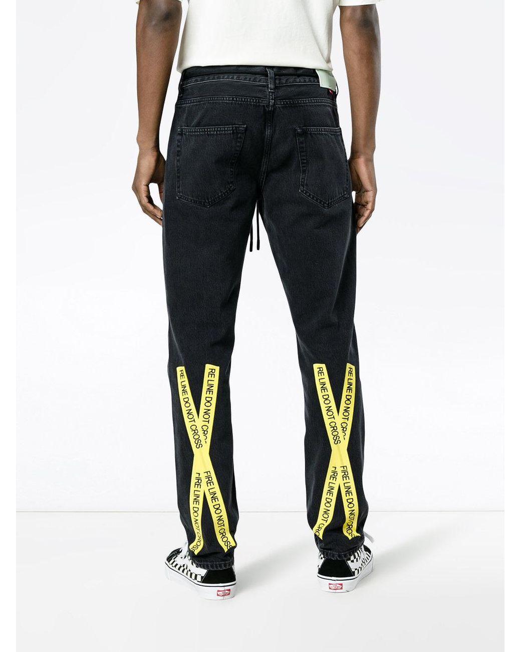 b38eab9efa27 Lyst - Off-White c o Virgil Abloh Slim Jeans With Yellow Tape Detail in  Black for Men