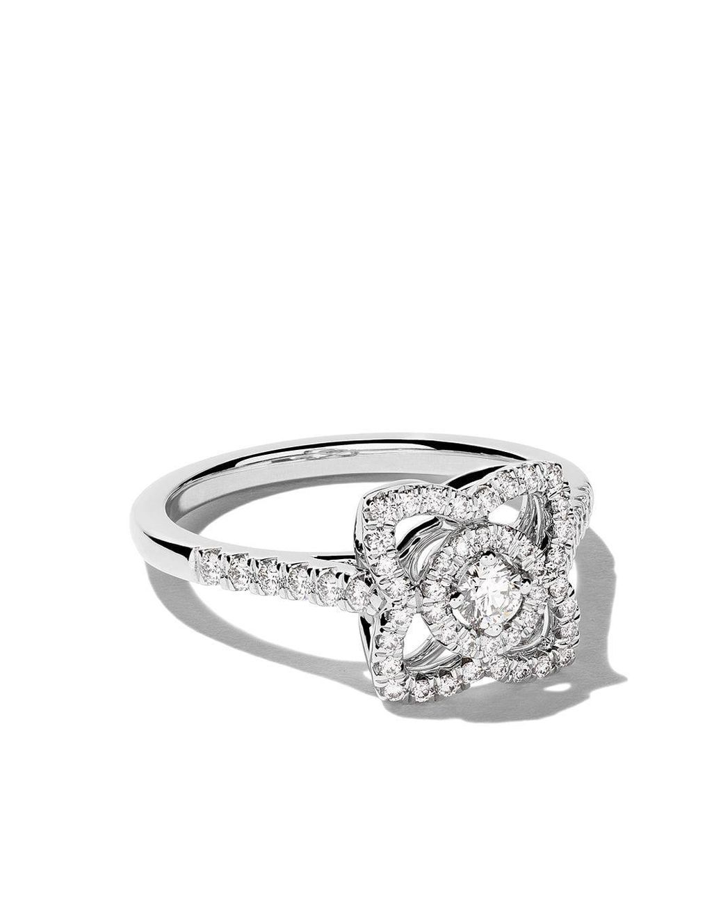 De Beers 18kt White Gold Enchanted Lotus Diamond Ring Lyst