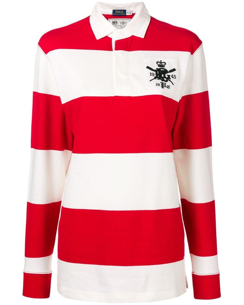 Women S Red Striped Long Sleeve Polo Top