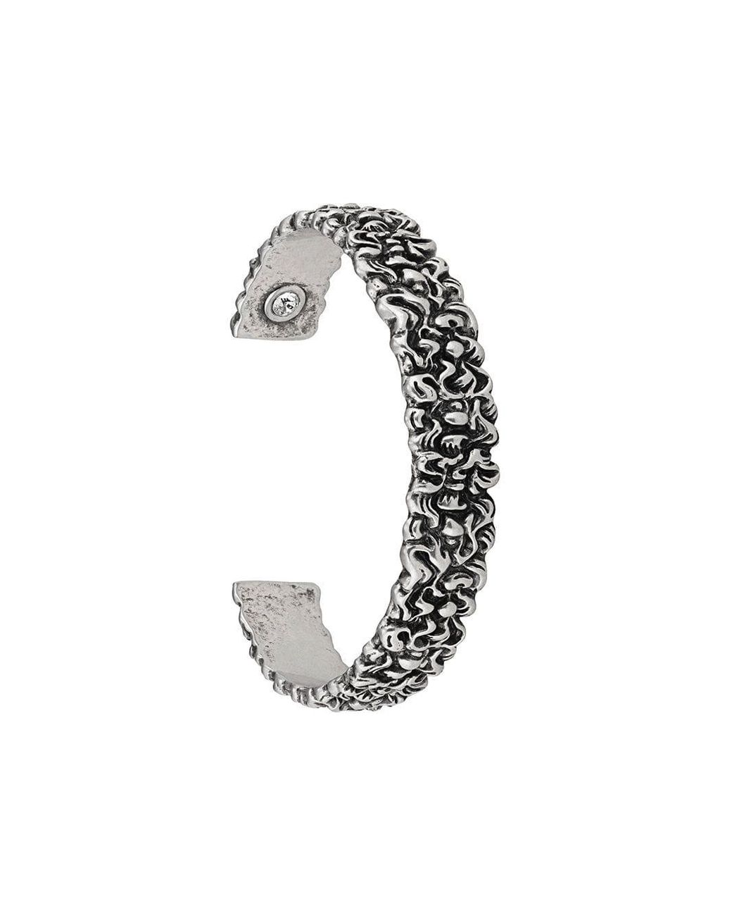 65bab0954a0 Men's Metallic Lion Mane Cuff Bracelet With Crystal
