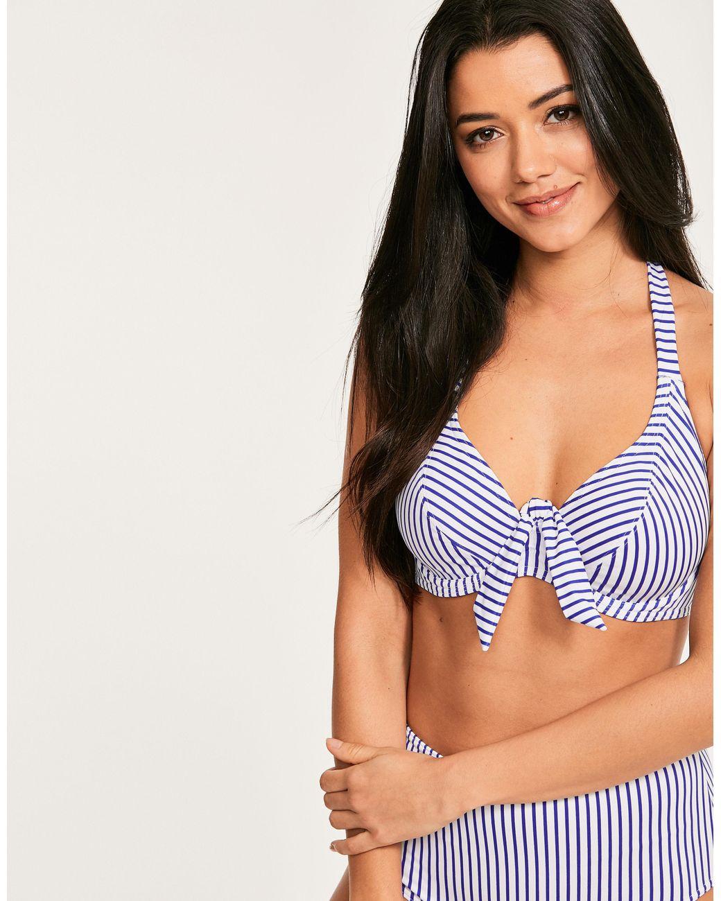 fff4a55df0ffb Freya Totally Stripe Underwired Banded Halter Bikini Top in Blue - Lyst