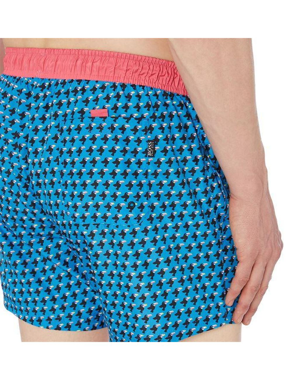 Hugo Boss Men/'s Cardinalfish Quick Dry Open Blue Trunks Shorts Swimwear